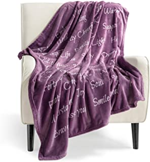 Best Bedsure Healing Thoughts Throw Blanket - Super Soft Flannel Fleece Blanket with Inspirational Positive Energy Healing Thoughts - Perfect Sympathy Breast Cancel Gifts Get Well Blanket for Women(Purple) Review