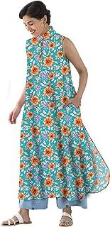 RADANYA Women's Tops Tunic Kurta Floral Printed Sleeveless Casual Tunic Long Tops Tunic Kurti