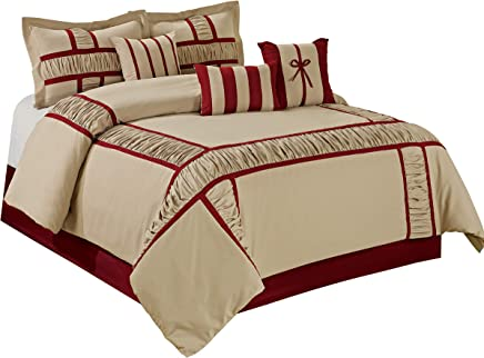 7 Piece MARMA Ruffle & Patchwork Comforter Sets Queen King CalKing (Queen,  Taupe/Burgundy)
