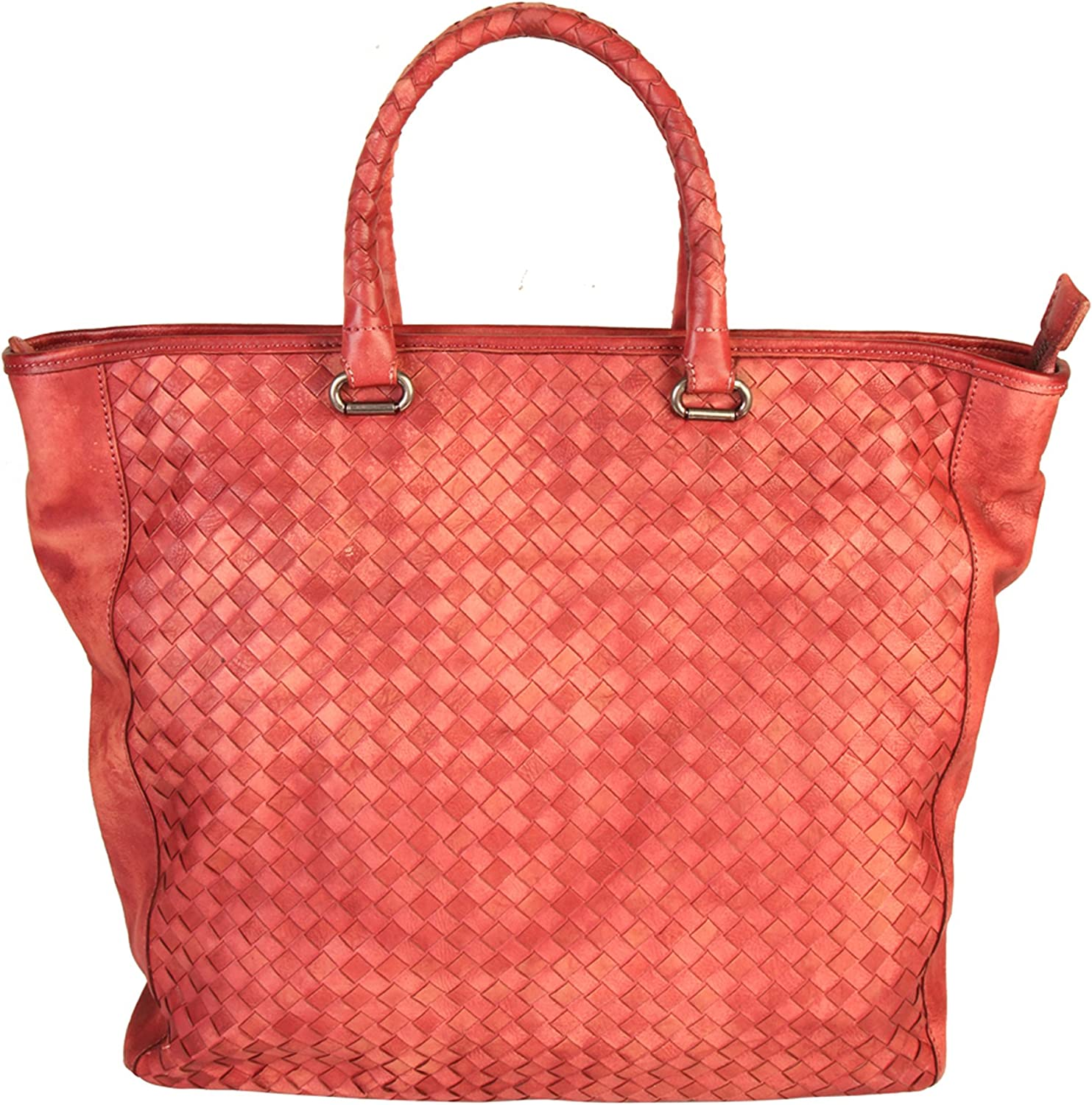 Diophy Womens Quilted Genuine Leather Top Handles Tote Handbag 150177