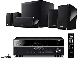 Yamaha 5.1 Channel AV Receiver with Bluetooth (HTR-3072) & Speaker Package with Active Subwoofer (NS-P41) & Free HDMI & Optical Cables