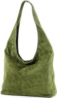 modamoda de - T150 - ital Schultertasche aus Leder Wildleder