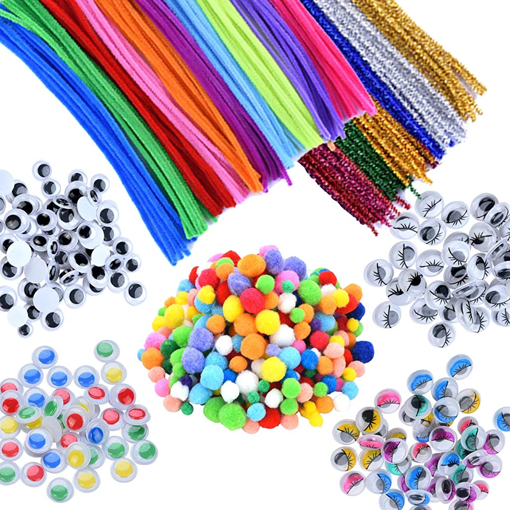 EpiqueOne 750 Pieces Kids Art & Craft Supplies Assortment Set for School Projects, DIY Activities & Parties; Pipe Cleaners & Chenille, Pom Poms, Googly Eyes, Mascara Eyes, Colored Eyes for Sensory