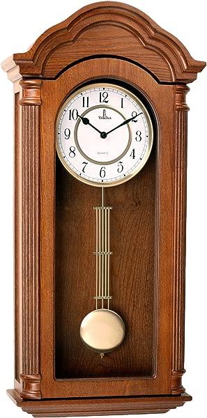 摆挂钟静音装饰木钟带摆摆电池供电大型雕刻木制设计客厅厨房办公室家用 D Cor 26X12 英寸