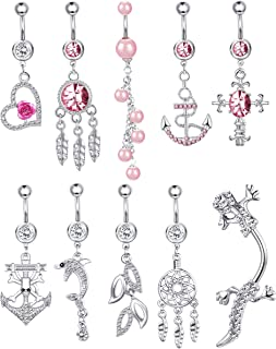 Thunaraz 14G Stainless Steel Dangle Belly Button Rings Set Navel Curved Barbells Piercing