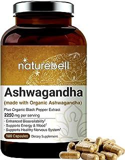 Ashwagandha Powder Capsules, 2250mg Per Serving (Made with Ashwagandha Organic Powder and Black Pepper), 180 Counts, Suppo...