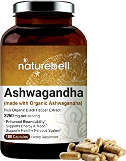 Organic Ashwagandha Capsules 2250mg Per Serving, 180 Counts, Powerfully Supports Healthy Nervous System, Mood, Memory and Brain Health, No GMOs and Made in USA