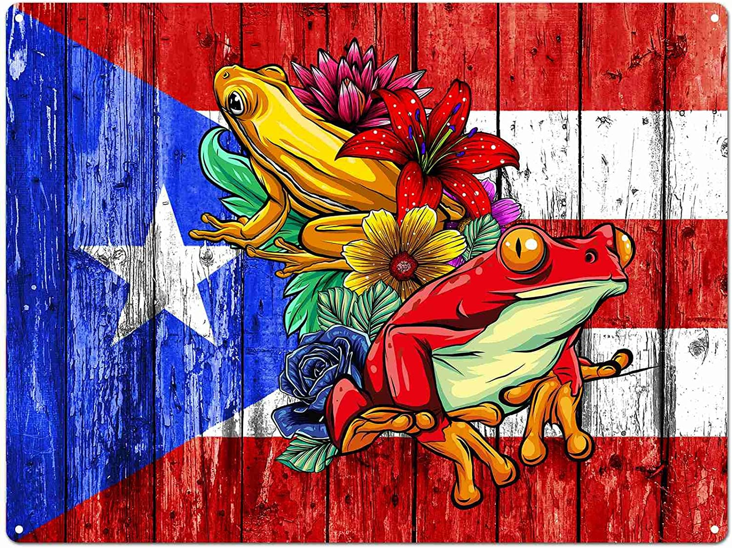 70% OFF Outlet Puerto Rico Frog Max 55% OFF Tin Signs Vintage for Metal Women Men Sign