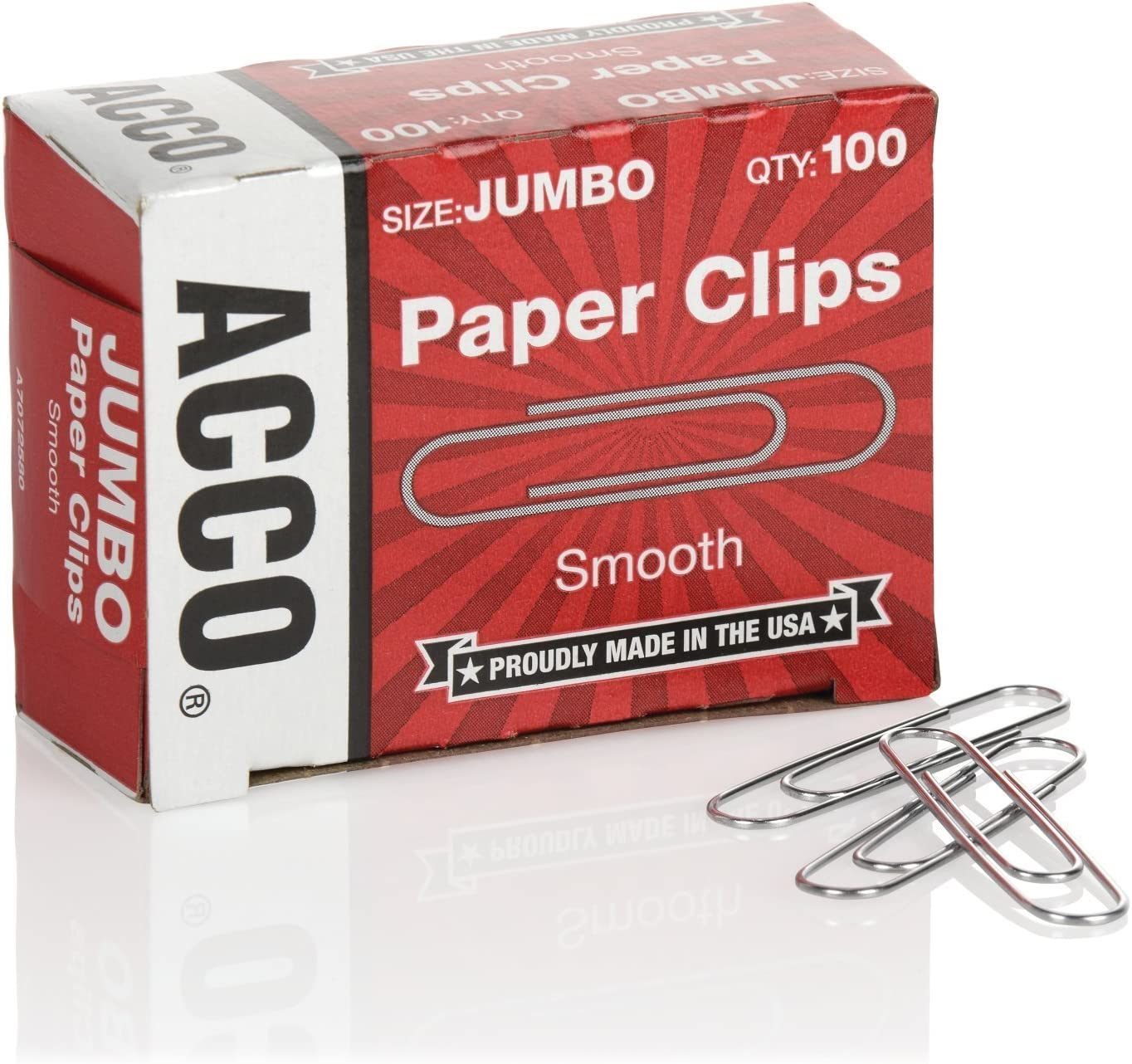 Silver ACCO Jumbo Paper Clips Non-Skid Premium 1 Box of 100 Clips A7072510 20 Sheet Capacity 2 Steel Wire