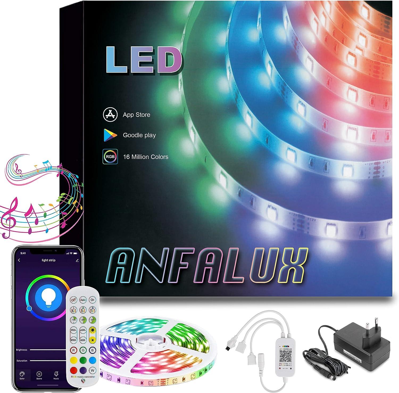 Anfalux tiras de luces LED , RGB5050, Bluetooth. Control APP y caja de control ,modo música. LED STRIP para decoración de Fiestas, dormitorio, Bar y TV. Eficacia Energética A++, 12V. 5M