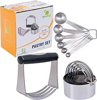 Stainless Steel Pastry Tools by Easyhomeart. Rustproof Dough Blender, Biscuit Cutter Set of 5 and 6 Measuring Spoons for Professional Baking in Your Home Kitchen.