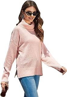 Milumia Women Turtleneck Knit Sweaters Split Hem Drop Shoulder Solid Pullover Jumper Tops Pink L