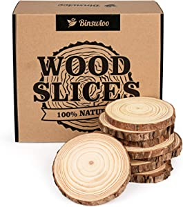 Binswloo 30 Pcs Natural Wood Slices, 3.5-4 Inch Unfinished Craft Wood Circles Round Wood Discs for Arts DIY Crafts Paintings Christmas Ornaments Wedding Decoration Centerpieces