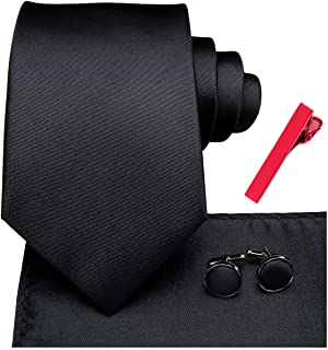 Dubulle Mens Tie and Pocket Square Holder with White Handkerchief Silver Tie Clip Cufflinks