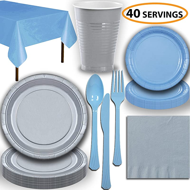 Disposable Party Supplies Serves 40 Silver And Light Blue Large And Small Paper Plates 12 Oz Plastic Cups Heavyweight Cutlery Napkins And Tablecloths Full Two Tone Tableware Set