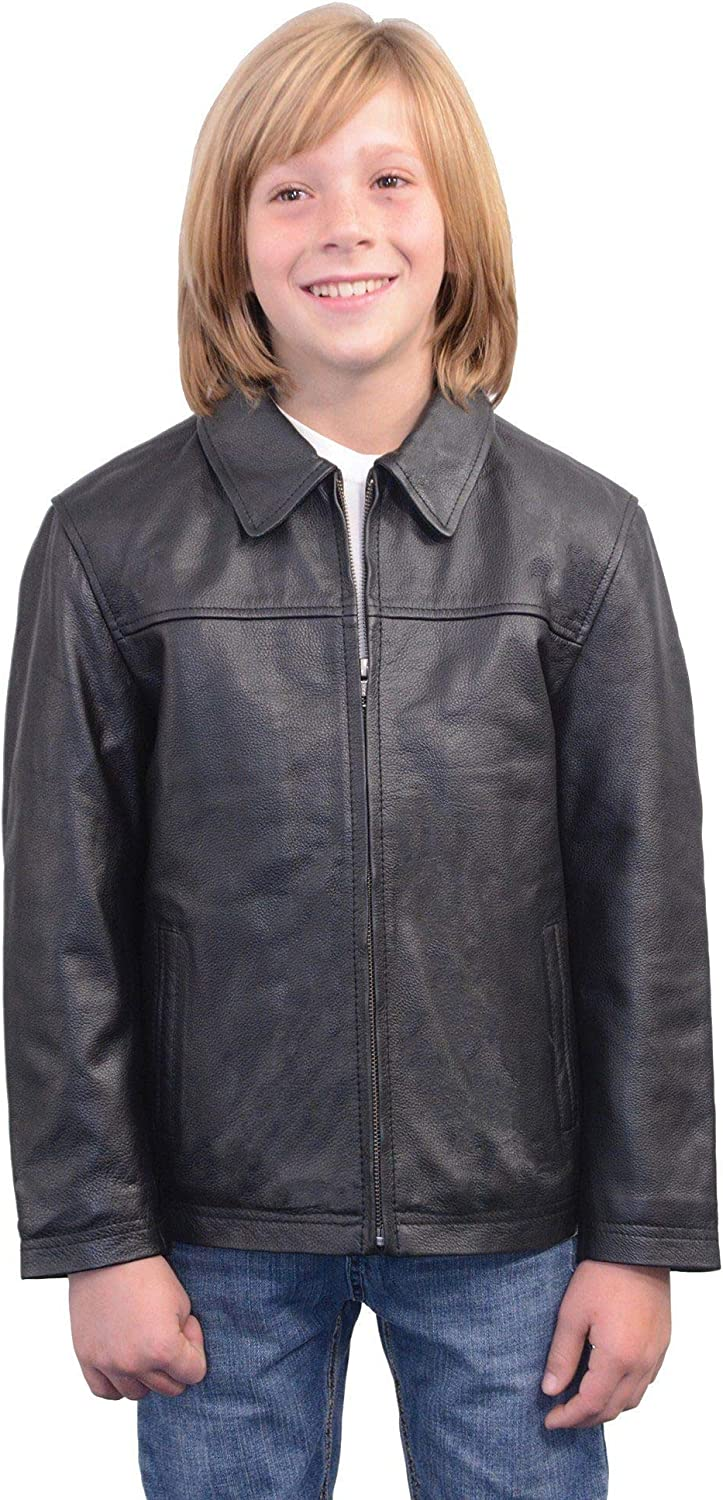 X-Large Milwaukee Leather LKK1940 Youth Size JD Black Leather Jacket with Front Zipper