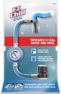 EZ Chill EZC110-4 Car Air Conditioner Hose and Gauge for R134A Refrigerant, Recharge Kit for Cars & Trucks & More, Reusable