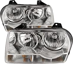 HEADLIGHTSDEPOT Headlights Halogen Chrome Housing Compatible with Chrysler 300 V6 Straight Bottom 2005-2009 (Pair)