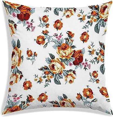 RADANYA Floral Digital Printed Polyester Square Cushion Cover 12 x 12 inch