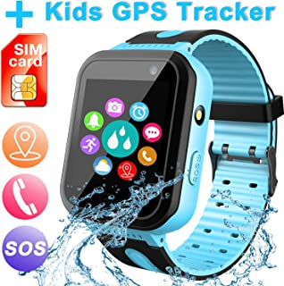 Waterproof Smart Watch for Kids, Activity GPS Tracker Digital Wrist Watch Phone Built in SIM Card SOS Alarm Clock Flashlight Smartwatch for Kids Age 3-12 Electronic Learning Birthday Xmas Gifts (Blue)