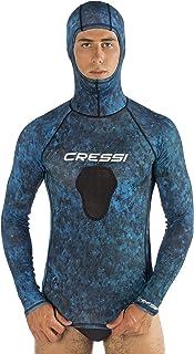 Cressi Men's Hunter Hooded Rash Guard, Blue Camo, Small