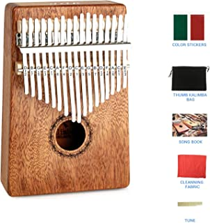 Raxnwell 17 Keys Kalimba Thumb - Piano with EVA Waterproof Hard Protective Case,Tuning Hammer and Music Book, Unique and Great Birthday Gift for Musicians or Kids Without Any Musical Basis.