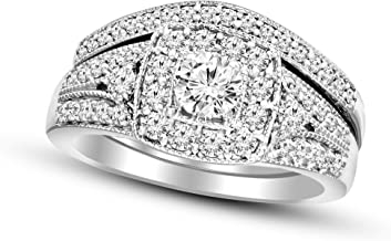 Friendly Diamond IGI Certified 1ct Lab Grown Halo Diamond Rings For Women 925S Sterling Silver Lab Created SI-GH Quality Real Diamond Rings