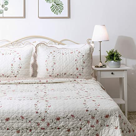 """Elegant Life 100% Cotton Reversible Soft Floral Pattern Windsor Love Embroidery Bed Quilt Coverlet Bedspread,  Queen Size,  92""""x92"""""""