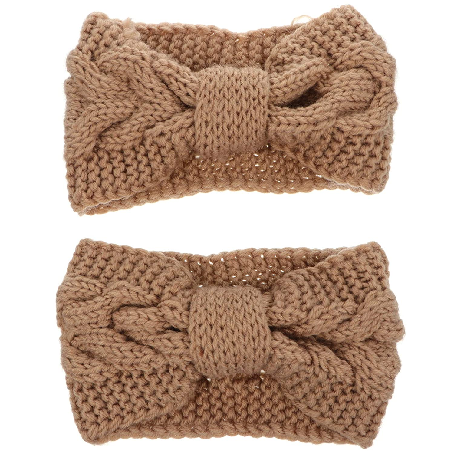 FRCOLOR 2pcs Knitted Headband Bowknot Cable Hairband with Buttons Winter Ear Warm Headwrap for Women (Camel)