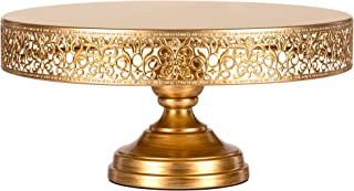 Amalfi Decor 14 Inch Cake Stand, Dessert Cupcake Pastry Candy Display Plate for Wedding Event Birthday Party, Large Round Metal Pedestal Holder, Gold