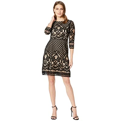 Gabby Skye Novelty Lace Dress (Black/Cafe) Women