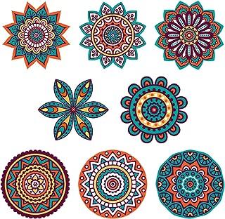 "Boho Decor :: Mandala Sun Catchers Window Clings (Set of 8) :: Stained Glass Window Art Decal/Cling :: Suncatchers for Windows Decoration :: Hippie Decor :: (Size :: 5.75"")"