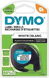 Dymo LetraTag Ruban Plastique Authentique, 1,2 cm x 4 m, Noir sur Blanc, Pour étiqueteuse DYMO LetraTag
