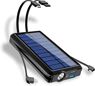 2021 Upgraded 30000mAh Solar Power Bank Built-in Type-C&Micro&iOS 3 Output Cables and 1 USB Input Cable, with 2 Input and ...