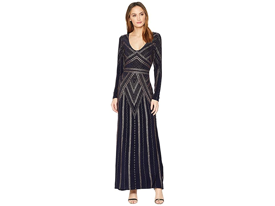 MARINA Long Sleeve V-Neck Glitter Knit Gown (Navy/Gold) Women