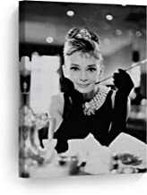Smile Art Design Audrey Hepburn Breakfast at Tiffany`s Canvas Print Decorative Art Modern Wall Decor Artwork Living Room Bedroom Wall Art Ready to Hang Made in The USA AHV9 17x11