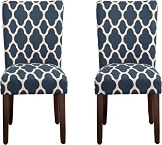 HomePop Parsons Classic Upholstered Accent Dining Chair, Set of 2, Navy and Cream Geometric -