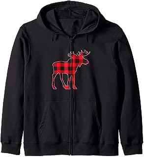 Moose Elk Plaid Buffalo Check Pajama Lumberjack Christmas Zip Hoodie