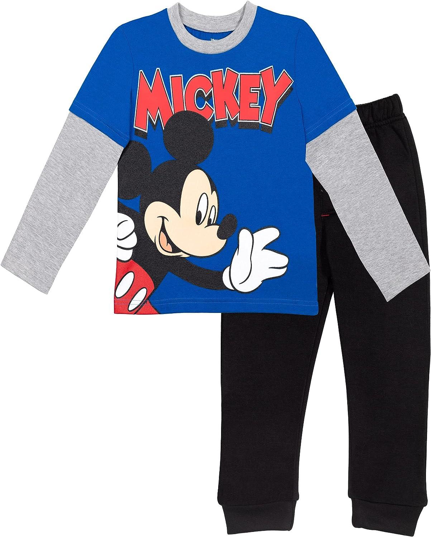 Disney Mickey Mouse Boys Long Sleeve T-Shirt and Fleece Jogger Pant Set