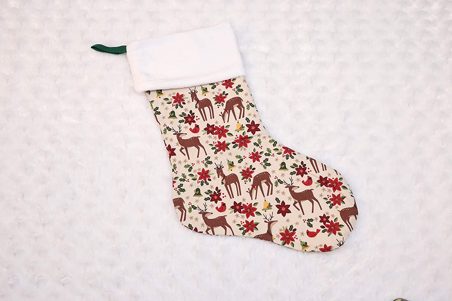 Woodland Deer Now on sale and Price reduction Stocking Christmas Poinsettia