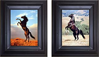 Wild Black Stallion Horse Rearing Animal Bedroom Two Set 8x10 Black Framed Wall Decor Posters Picture Art Print