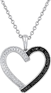 Pipa Bella 925 Sterling Silver Vintage Silhouette Wrap Heart Pendant with Natural Diamonds and Treated Black Diamonds. Pen...