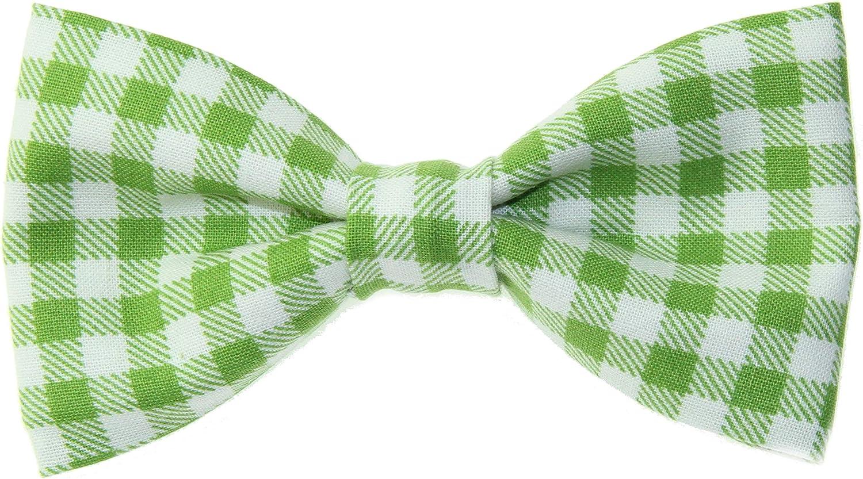 Men's Green White Buffalo Plaid Clip On Cotton Bow Tie
