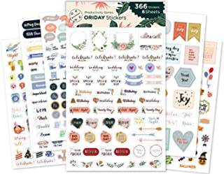Oriday, Planner Stickers 6 Sheets, Set of 391 Stickers for Daily Life Productivity for Monthly, Weekly, Daily Planner and Calendar or Journal, Sticker Book for Women