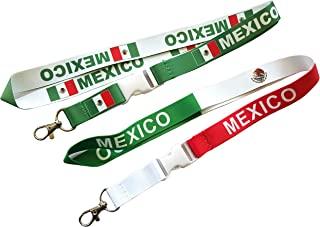 2 Mexico Flag Lanyard with Detachable Buckle and Clip for Keys or id Badges