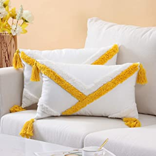 Funda Cojin Boho 30x50 Amarillo Decorativo Fundas de Cojines Rectangulares Algodon con Borlas 2pcs Cushion Covers para Sala de Estar Dormitorio Sofá Cama Silla Coche