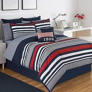 IZOD Varsity Stripe Comforter Set, King, Red/Navy