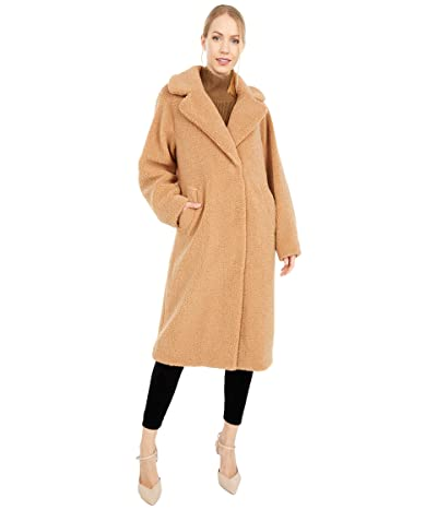 Calvin Klein Oversized Plaid Wool Coat with Button Closure (Camel) Women