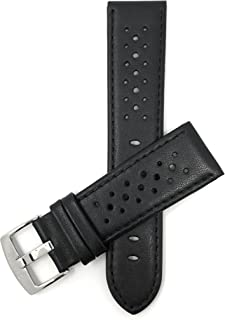 Mens Leather Watch Band Strap, Vented, Racer, GT Rally, Stainless Steel Buckle, 10 Colors - 18mm, 20mm, 22mm, 24mm (Many Sizes Also Come in Extra Long XL)