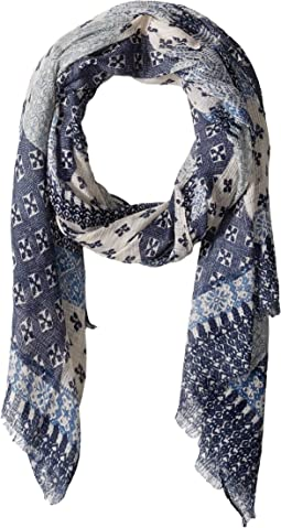 BSS1736 - Woven Multi Blue Patchwork Print